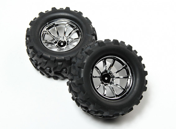 HobbyKing® 1/10 Monster Truck 10-Spoke Chrome Wheel & Arrow Pattern Tire 12mm Hex (2pc)
