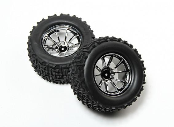 HobbyKing® 1/10 Monster Truck 10-Spoke Chrome Wheel & I-Pattern Tire 12mm Hex (2pc)