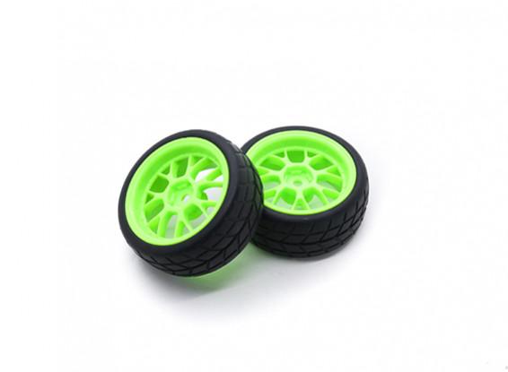HobbyKing 1/10 Wheel/Tire Set VTC Y Spoke Rear (Green) RC Car 26mm (2pcs)