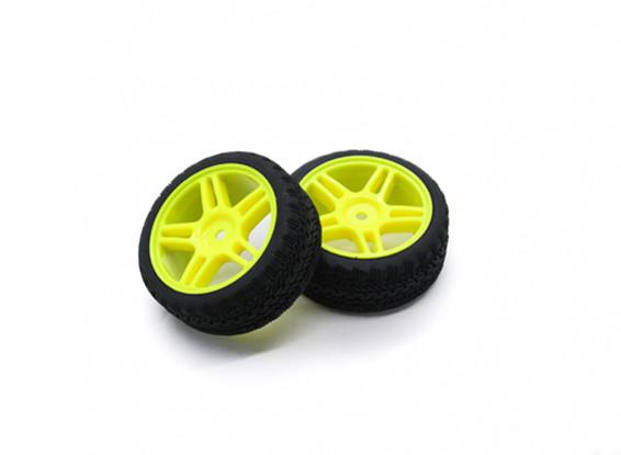 HobbyKing 1/10 Wheel/Tire Set AF Rally Star Spoke(Yellow) RC Car 26mm (2pcs)