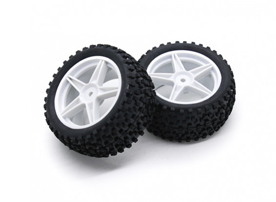 HobbyKing 1/10 Small Block 5-Spoke Rear (White) Wheel/Tire 12mm Hex (2pcs/Bag)