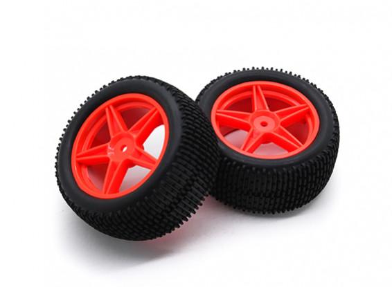 HobbyKing 1/10 Gekkota 5-Spoke Rear (Red) Wheel/Tire 12mm Hex (2pcs/Bag)
