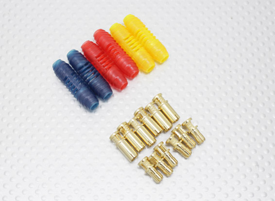 4mm RCPROPLUS Supra X Gold Bullet Polarised Connectors (6 pairs)