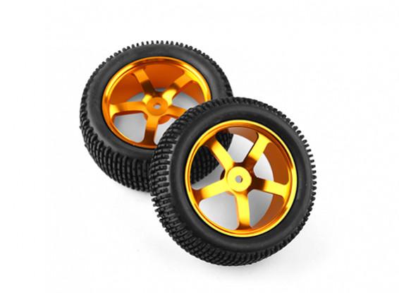 HobbyKing 1/10 Aluminum 5-Spoke Front (Gold) Wheel/ Small Block Tire 12mm Hex (2pcs/bag)