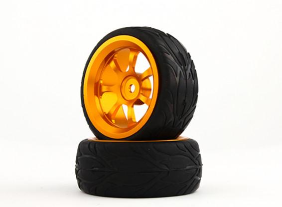 HobbyKing 1/10 Aluminum 7-Spoke 12mm Hex Wheel (Gold) / Fire Tire 26mm (2pcs/bag)