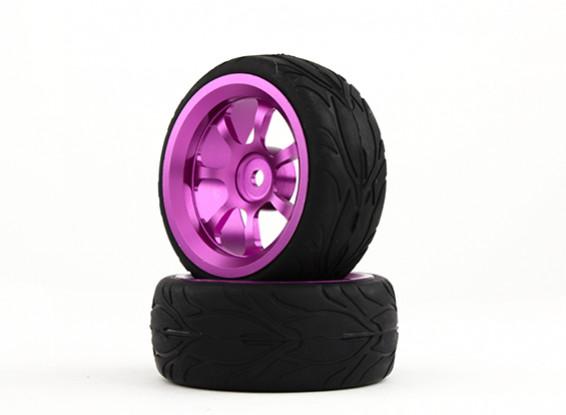 HobbyKing 1/10 Aluminum 7-Spoke 12mm Hex Wheel (Purple) / Fire Tire 26mm (2pcs/bag)