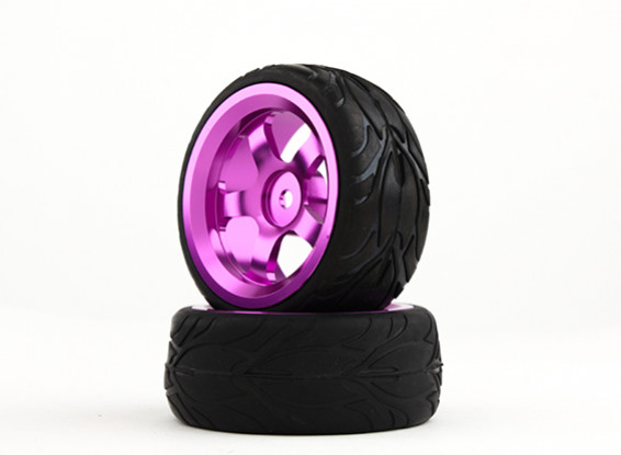 HobbyKing 1/10 Aluminum 5-Spoke 12mm Hex Wheel (Purple) / Fire Tire 26mm (2pcs/bag)
