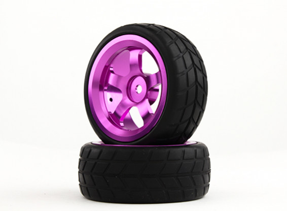 HobbyKing 1/10 Aluminum 5-Spoke 12mm Hex Wheel (Purple) / VTC Tire 26mm (2pcs/bag)