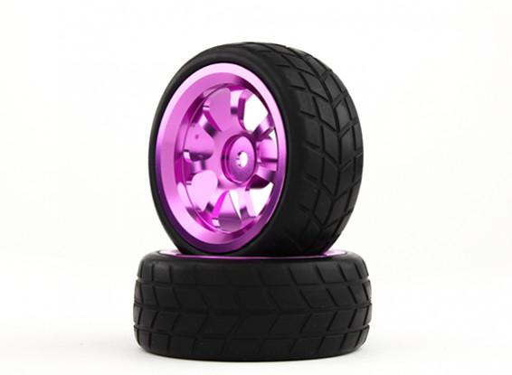 HobbyKing 1/10 Aluminum 7-Spoke 12mm Hex Wheel (Purple) / VTC Tire 26mm (2pcs/bag)