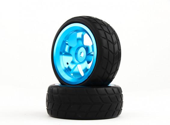 HobbyKing 1/10 Aluminum 5-Spoke 12mm Hex Wheel (Blue) / VTC Tire 26mm (2pcs/bag)