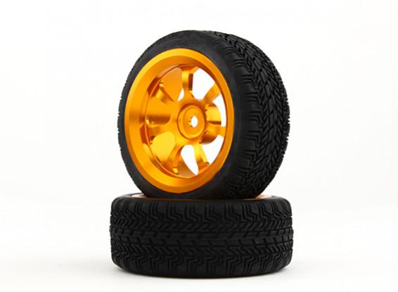 HobbyKing 1/10 Aluminum 7-Spoke 12mm Hex Wheel (Gold) / W Tire 26mm (2pcs/bag)