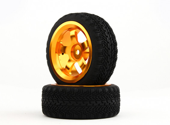 HobbyKing 1/10 Aluminum 5-Spoke 12mm Hex Wheel (Gold) / W Tire 26mm (2pcs/bag)