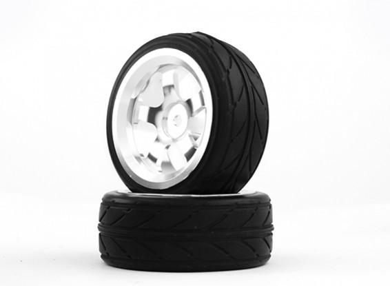 HobbyKing 1/10 Aluminum 5-Spoke 12mm Hex Wheel (Silver) / VV Tire 26mm (2pcs/bag)