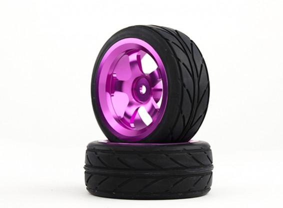 HobbyKing 1/10 Aluminum 5-Spoke 12mm Hex Wheel (Purple) / VV Tire 26mm (2pcs/bag)