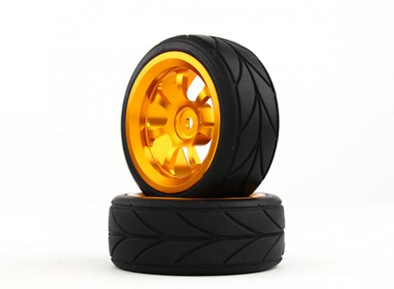 HobbyKing 1/10 Aluminum 7-Spoke 12mm Hex Wheel (Gold) / V Tire 26mm (2pcs/bag)