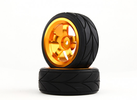 HobbyKing 1/10 Aluminum 5-Spoke 12mm Hex Wheel (Gold) / V Tire 26mm (2pcs/bag)