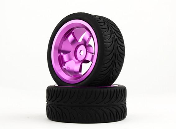 HobbyKing 1/10 Aluminum 5-Spoke 12mm Hex Wheel (Purple) / YY Tire 26mm (2pcs/bag)