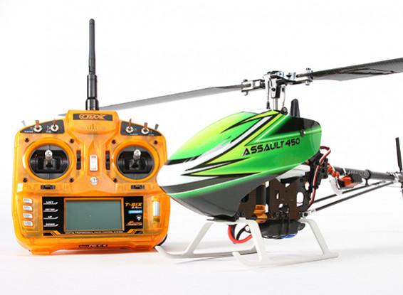 Assault 450 DFC Flybarless 3D Helicopter w/OrangeRX T-SIX 2.4Ghz Transmitter - Mode 1 (RTF)