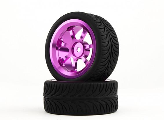 HobbyKing 1/10 Aluminum 7-Spoke 12mm Hex Wheel (Purple) / YY Tire 26mm (2pcs/bag)