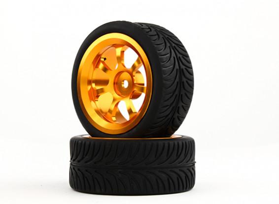 HobbyKing 1/10 Aluminum 7-Spoke 12mm Hex Wheel (Gold) / YY Tire 26mm (2pcs/bag)