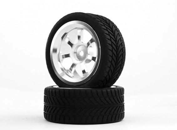 HobbyKing 1/10 Aluminum 7-Spoke 12mm Hex Wheel (Silver) / IVI Tire 26mm (2pcs/bag)