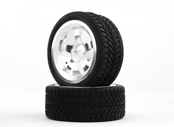 HobbyKing 1/10 Aluminum 5-Spoke 12mm Hex Wheel (Silver) / IVI Tire 26mm (2pcs/bag)