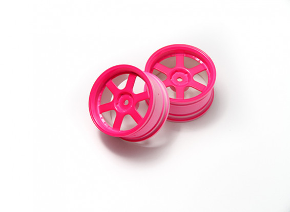 1:10 Rally Wheel 6-Spoke Neon Pink (3mm Offset)
