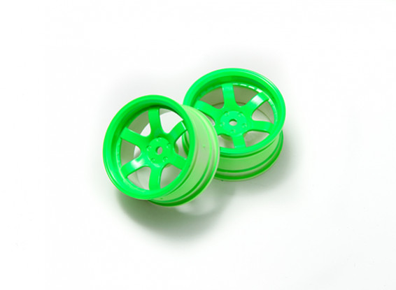 1:10 Rally Wheel 6-Spoke Neon Green (6mm Offset)