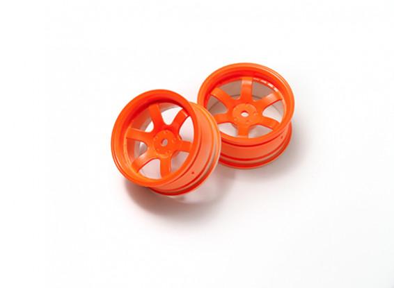 1:10 Rally Wheel 6-Spoke Neon Orange (6mm Offset)