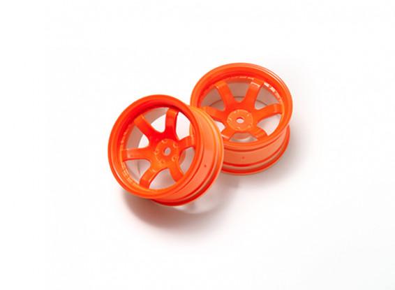 1:10 Rally Wheel 6-Spoke Neon Orange (9mm Offset)