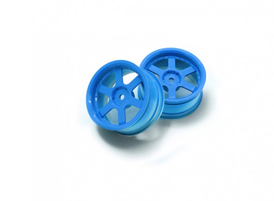 1:10 Rally Wheel 6-Spoke Fluorescent Blue (3mm Offset)