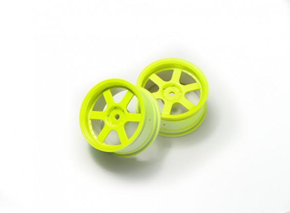 1:10 Rally Wheel 6-Spoke Fluorescent Yellow (3mm Offset)
