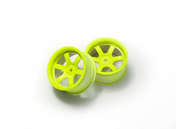 1:10 Rally Wheel 6-Spoke Fluorescent Yellow (6mm Offset)
