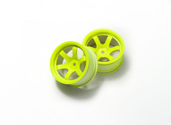 1:10 Rally Wheel 6-Spoke Fluorescent Yellow (9mm Offset)