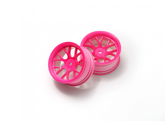 1:10 Wheel Set 'Y' 7-Spoke Fluorescent Pink (6mm Offset)