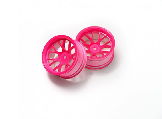 1:10 Wheel Set 'Y' 7-Spoke Fluorescent Pink (9mm Offset)