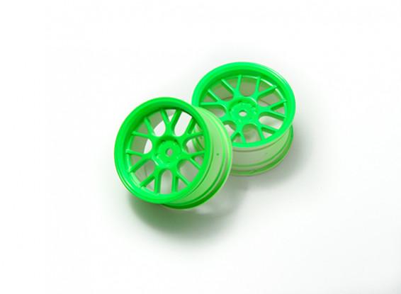 1:10 Wheel Set 'Y' 7-Spoke Fluorescent Green (3mm Offset)