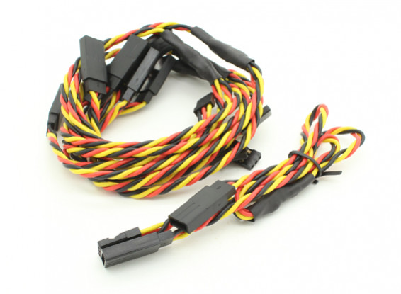 Twisted 30cm Y Servo Leads (JR) 24AWG (5pc)