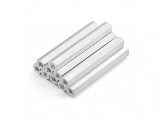 Lightweight Aluminum Hex Section Spacer M3 x 38mm (10pcs/set)