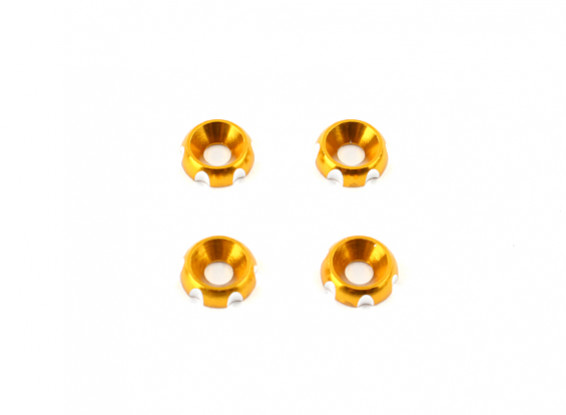 Aluminum 3mm CNC Countersunk Washer - Gold (4pcs)
