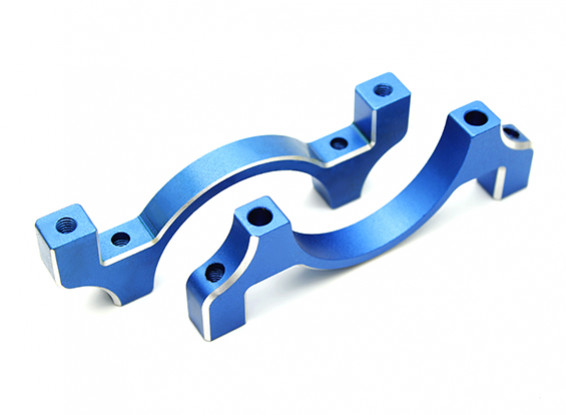 Blue Anodized CNC Aluminum Tube Clamp 30mm Diameter