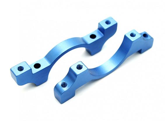 Blue Anodized CNC Aluminum Tube Clamp 22mm Diameter
