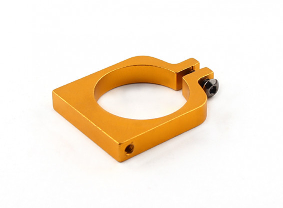 Gold Anodized Single Sided CNC Aluminum Tube Clamp 25mm Diameter