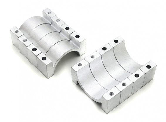 Silver Anodized Double Sided 10mm CNC Aluminum Tube Clamp 20mm Diameter (Set of 4)