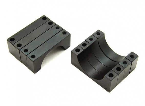 Black Anodized Double Sided 6mm CNC Aluminum Tube Clamp 22mm Diameter (Set of 4)