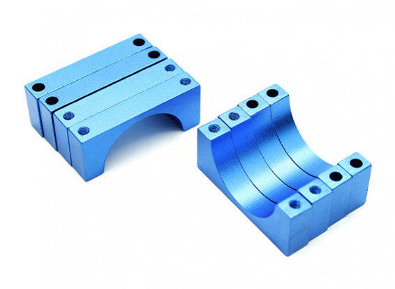 Blue Anodized Double Sided 6mm CNC Aluminum Tube Clamp 22mm Diameter (Set of 4)