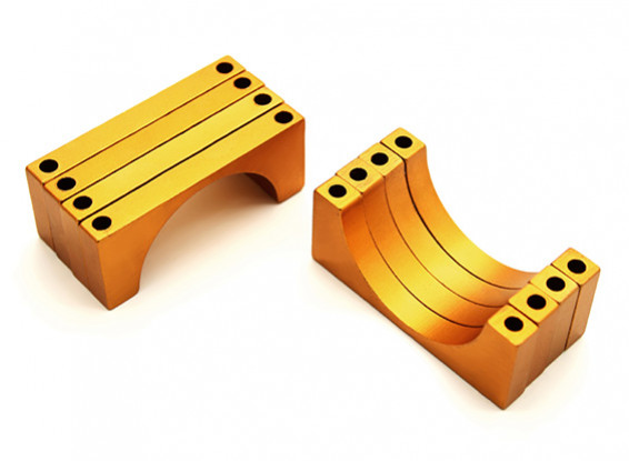 Gold Anodized Double Sided 6mm CNC Aluminum Tube Clamp 28mm Diameter (Set of 4)