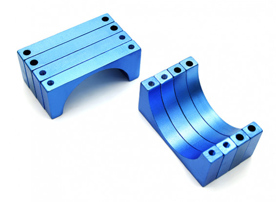 Blue Anodized Double Sided 6mm CNC Aluminum Tube Clamp 30mm Diameter (Set of 4)