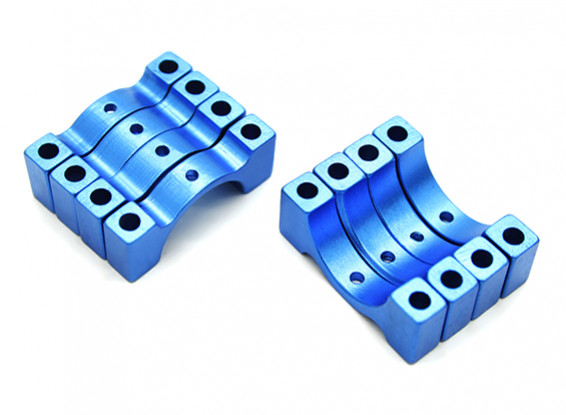 Blue Anodized CNC 4.5mm Aluminum Tube Clamp 15mm Diameter