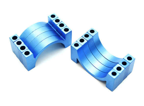 Blue Anodized CNC semicircle alloy tube clamp (incl. nuts & bolts) 22mm